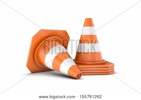 3d re3d rendering of a stack of traffic cones and one cone lying sidelong. all isolated on the white background. Traffic signs. Safety gear and equipment. Construction site.