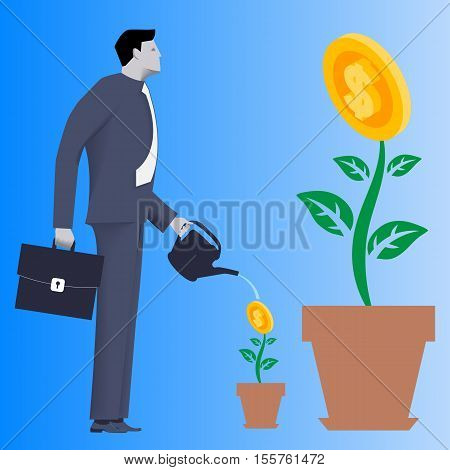 Growing new business concept. Pensive businessman in business suit with case and watering can in her hands watering small plant in clay pot with golden coin instead of flower.
