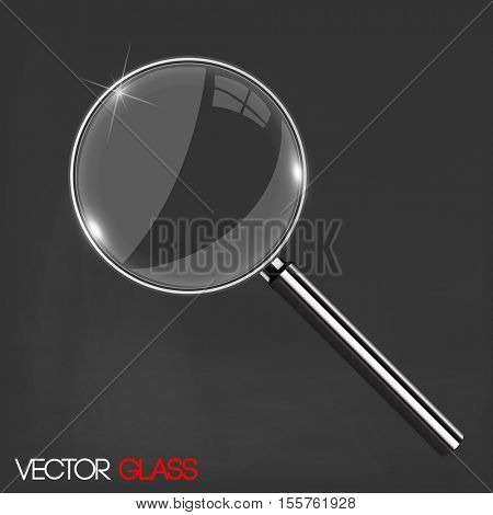 Magnifying glass on a dark background illustration