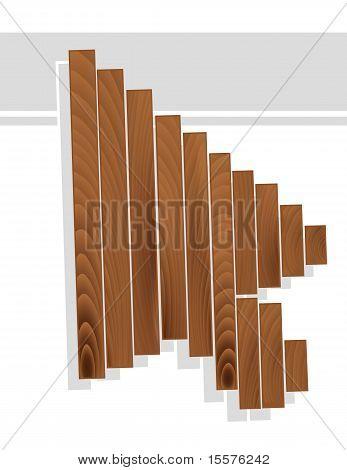 Arrow Cursor In Wood Grain Texture Style