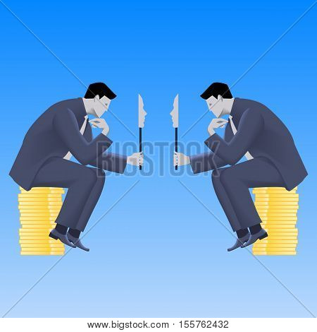 Negotiations of masks business concept. Two confident businessmen in business suit talking and both are holding masks covering their true intentions. Talk conversation deception vector.