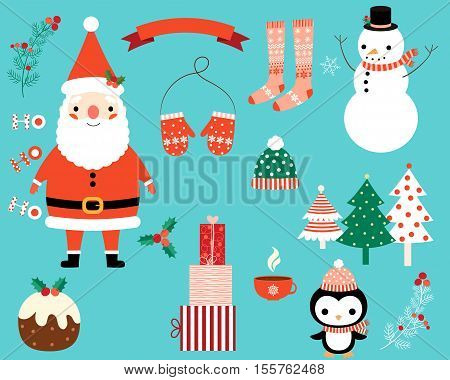 Christmas vector characters and design elements collection in flat style - Santa Claus, penguin, snowman, trees, presents, stocking, mittens, holly