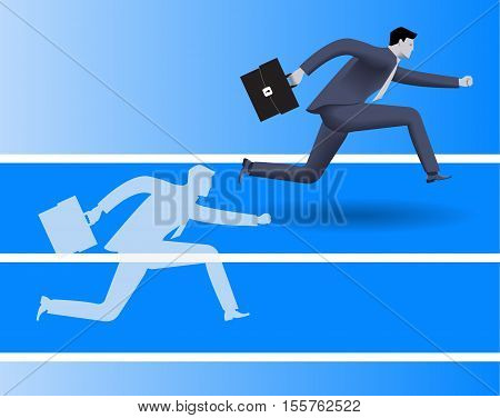 Outperform yourself business concept. Confident businessman in business suit runs with case in his hand runs against his own transparent shadow and wins. Excellence performance efficiency concept