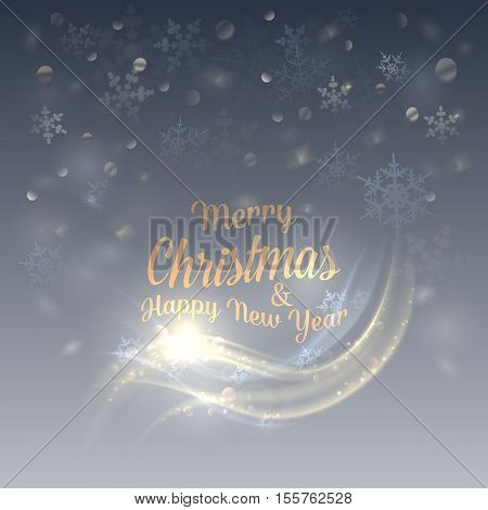 Christmas or new year background for year 2017. Falling snowflakes background for merry christmas and happy new year. May be used for christmas or holiday decoration background