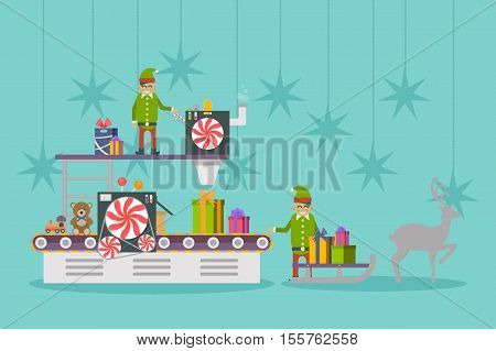Elf factory or elves workshop, toy production line. Conveyor belt near elf or elves making gift or presents. May be used for toy factory or engineering industry, elf concept, celebration, holiday theme