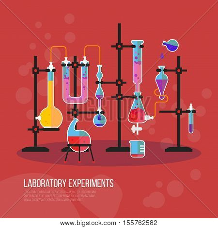 Flask chemistry equipment for laboratory or lab. Tubes and pipes in chemical laboratory or science lab. May be used for chemistry experiment and chemical reaction, chemistry school lesson theme