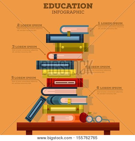 Education infographic with pile of school books. May be used for literature or education infographic background with pointers, read or science theme, education book or school infographic