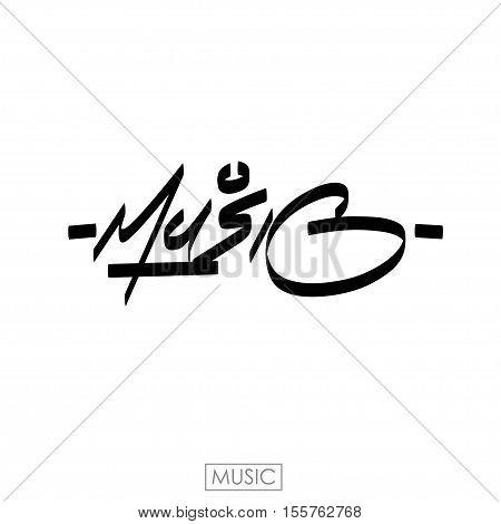 Music word. Hand drawn lettering for music fest. Ink illustration. Modern brush calligraphy.