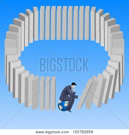 Wrong strategy business concept. Pensive businessman sitting on top of earth and pushing domino without noticing that last domino will fall on him. Predictability problem chain of consequences.