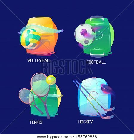 Sport logo of hockey and tennis, soccer and volleyball. Sport items like puck and stick, ball and racket. May be used for hockey logo or soccer badge, tennis logo or sport activity theme