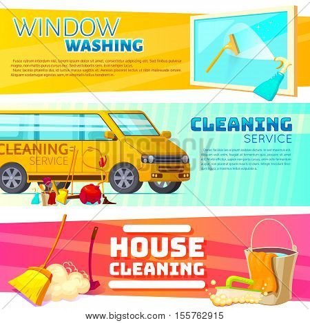 Three horizontal cleaning service banner set with window washing cleaning service and house cleaning headlines vector illustration