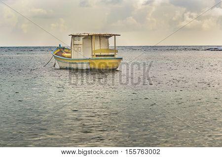 Small ship at sea in Porto Galinhas Pernambuco Brazil