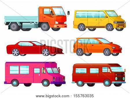 Colored and isolated orthogonal car set with different types of cars and their purpose vector illustration