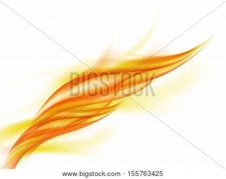 Background with abstract orange fire flashes on white, fiery smoke, vector illustration