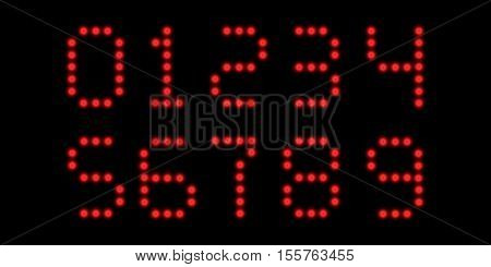 font of the digits the clock, the hour markers consist of red LEDs with a blur effect, a font created to compile time vector easy to edit