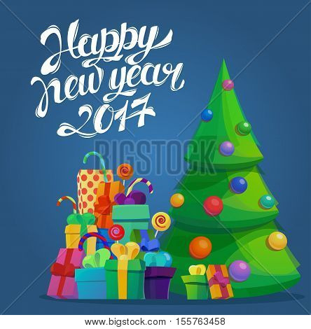 Fir tree for new year 2017 and merry christmas. Greeting card template with gift or present boxes, candy sticks for christmas and new year. May be used for new year placard or christmas celebration