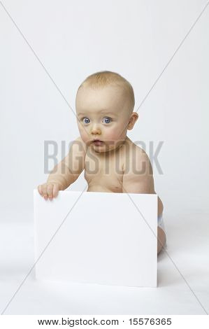 White Isolation Of Baby With White Board