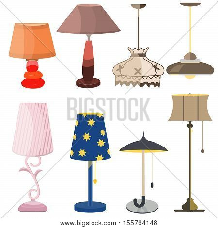 Lamps furniture set light design electric vector illustration. Electricity floor lamps and table lamps. Lamps decoration modern classic bright bulb. Energy interior equipment lantern sign.