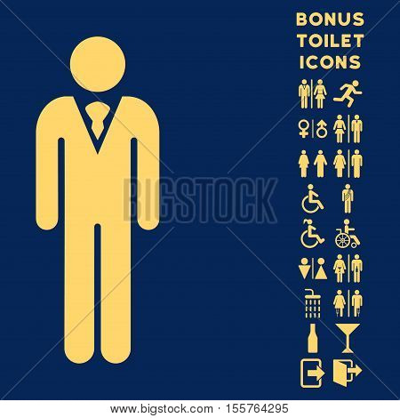 Gentleman icon and bonus gentleman and female restroom symbols. Vector illustration style is flat iconic symbols, yellow color, blue background.