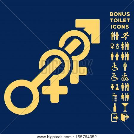 Harem icon and bonus man and woman lavatory symbols. Vector illustration style is flat iconic symbols, yellow color, blue background.