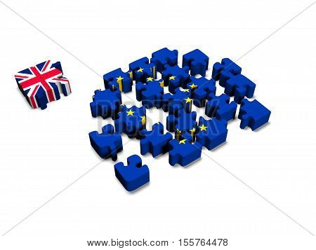 Euro Puzzle and one Puzzle Piece with Great Britain Flag. 3D illustration. 3D CG.