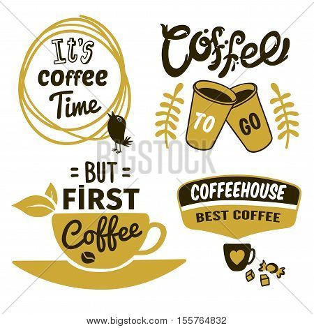 Set of coffee logos in black khaki colors with typographic quotes bird and cups isolated vector illustration