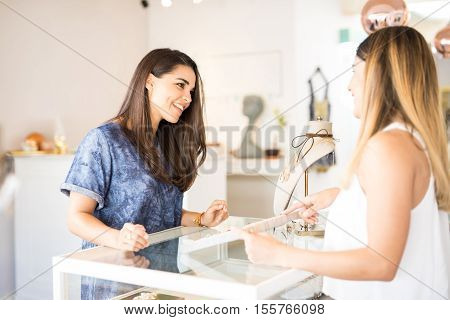 Woman Enjoying Her Time At A Jewelry Shop