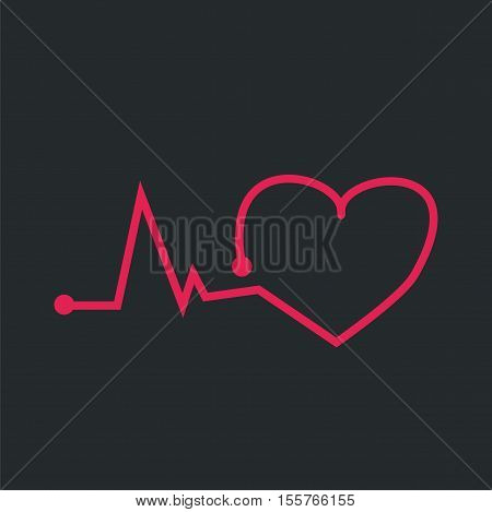 Pulsating red heart on a black background