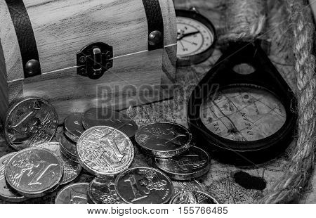 pirate treasure and world map, black and white