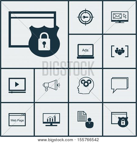 Set Of Seo Icons On Website, Video Player And Media Campaign Topics. Editable Vector Illustration. I