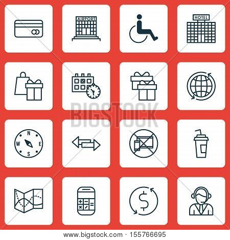 Set Of Travel Icons On Shopping, Airport Construction And Money Trasnfer Topics. Editable Vector Ill
