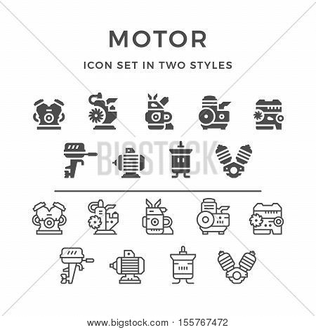 Set icons of motor and engine in two styles isolated on white. Vector illustration