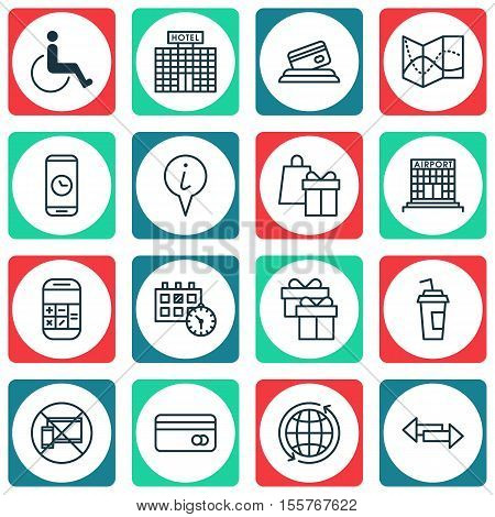 Set Of Traveling Icons On World, Accessibility And Road Map Topics. Editable Vector Illustration. In