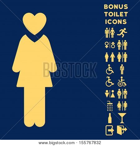 Mistress icon and bonus male and female restroom symbols. Vector illustration style is flat iconic symbols, yellow color, blue background.