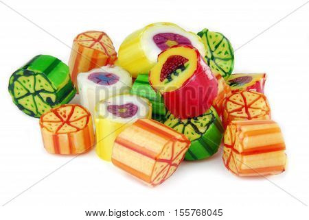 closeup of the rainbow candies isolated on white