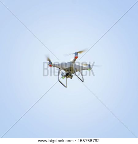 Photo of the Drone Over Blue Sky
