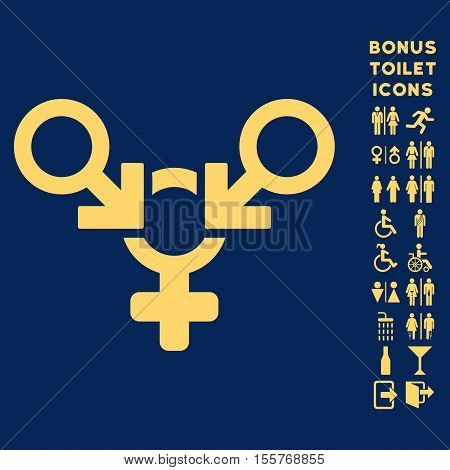 Polyandry icon and bonus man and female WC symbols. Vector illustration style is flat iconic symbols, yellow color, blue background.