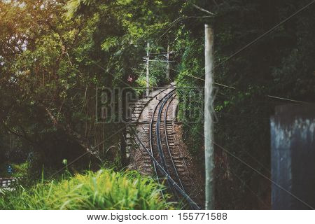 View of railway in jungle forest of Rio de Janeiro, a lot of wires, summer day, Brazil