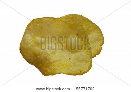 Potato chips on white isolated background close-up