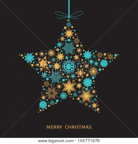 Merry Christmas card with star with gold and blue snowflakes on black background. Vector illustration with xmas tree decoration.