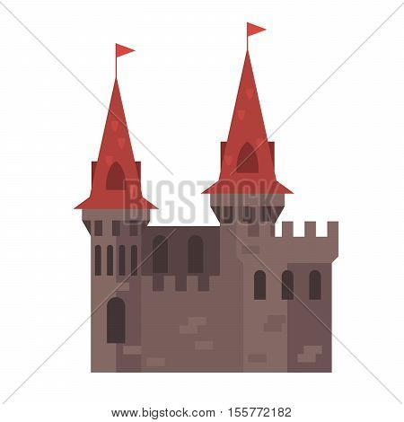 Medieval castle with towers - cartoon stronghold