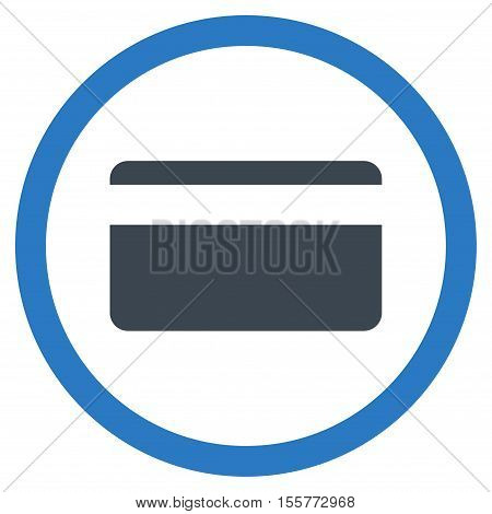 Plastic Card vector bicolor rounded icon. Image style is a flat icon symbol inside a circle, smooth blue colors, white background.