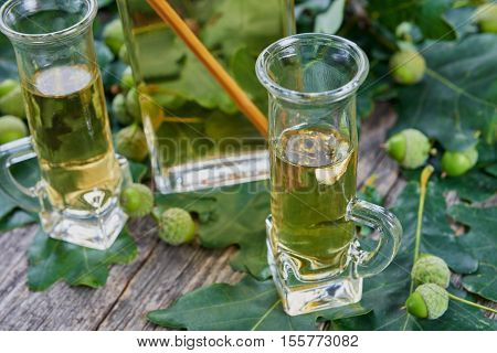 Liqueur made from oak tree bark and alcohol