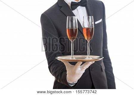 Waiter Serving Wine On A Tray