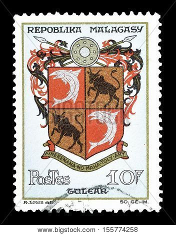 MADAGASCAR-CIRCA 1964 : Cancelled postage stamp printed by Madagascar, that shows Arms of Tulear.