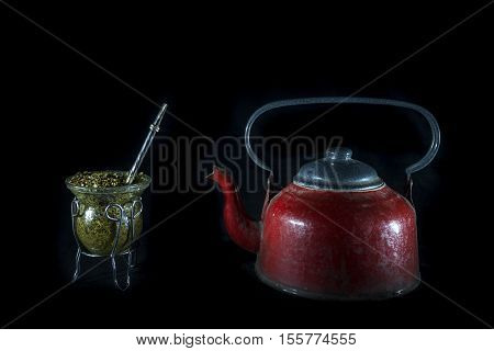 old equipment to drink mate typically Argentine