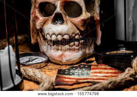 Pirate and world map Columbus day, USA, America