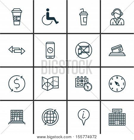 Set Of Traveling Icons On Credit Card, Locate And Operator Topics. Editable Vector Illustration. Inc