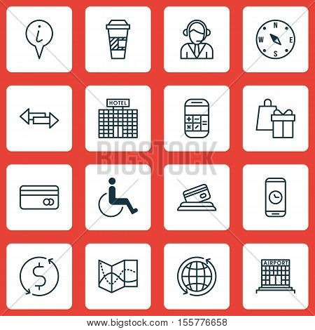 Set Of Transportation Icons On Accessibility, Plastic Card And Road Map Topics. Editable Vector Illu