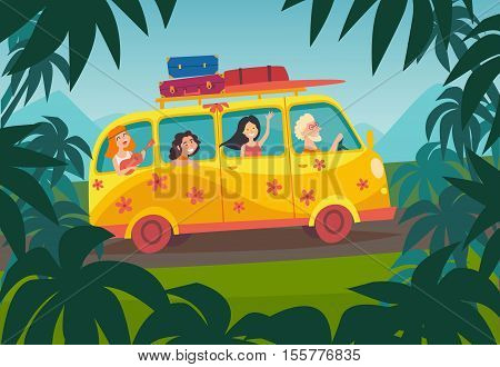 Car summer trip vector illustration. Happy people on summer holidays. Traveler bus poster. Palm background on road trip. Tourism concept cartoon character young hippie